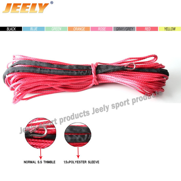 Wholesale-FREE SHIPPING 5mm*12m Synthetic Cable SPECTRA Winch Rope for Offroad UTV/ATV/SUV/4X4 with Sleeve and Thimble