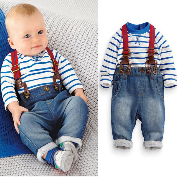 2 Piece Sets Boys Suits Spring Autumn Baby Boy Cotton Basque Shirts and Jeans Suspenders Baby Boy Clothes Sets 17090601