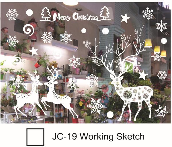 Ventana de Navidad pegatinas Snowflake Santa ventana de renos ventana sin pegamento electrostático incógnito de Navidad decoraciones al aire libre