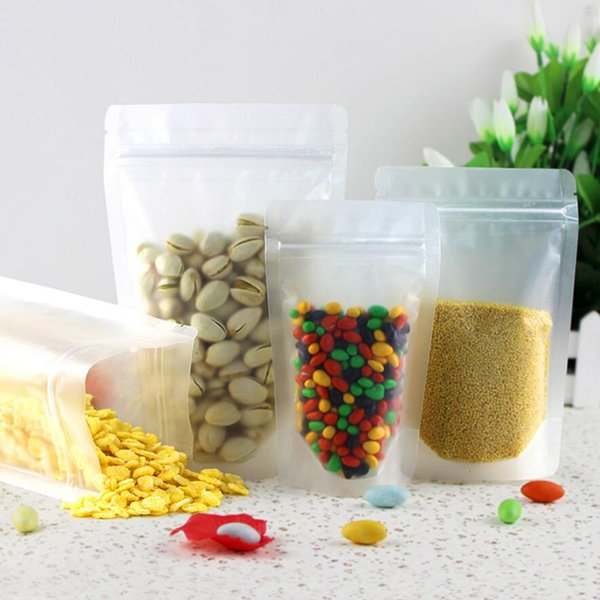 50Pcs 4.3''x6.7'' (11x17cm) Frosted Surface Clear Zip Lock Plastic Package Stand Up Bag Resealable Nuts Sugar Storage Poly Pouch