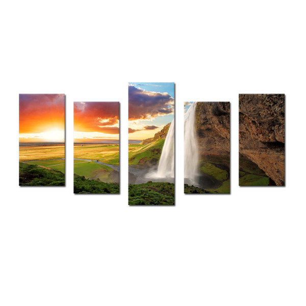 Modern Nature Waterfall Photography Canvas Wall Art Landscape Canvas Set of 5 panel Posters And Prints Wall Hangings Canvas Paintings