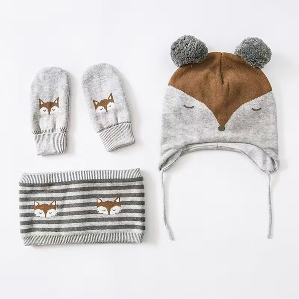 Wholesale Little Fox Embroidery Cotton Baby Hat +Scarf+Gloves Set Crochet Baby Beanies Kids Fall Winter Cap Handmade Windproof Earmuff Cap