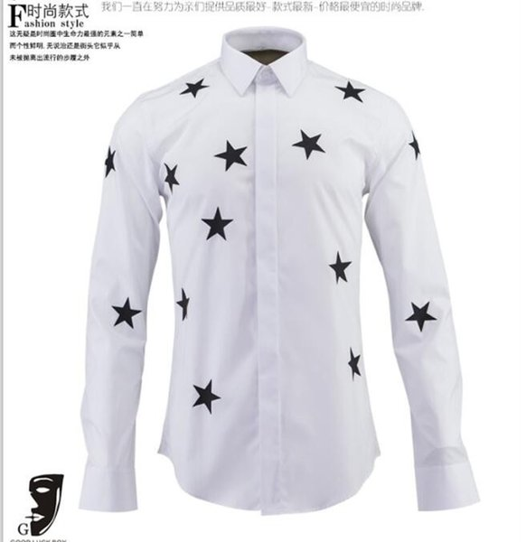 Free Shipping 2016 Spring New Arrival Famous Design Star Printed Long-sleeved Shirt High Quality Slim Fit Mens Casual Fashion Shirt Hot Sale