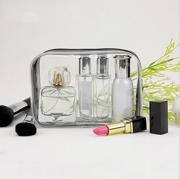 새로운 패션 지우기 화장 용품 메이크업 가방 PVC 플라스틱 여행 화장 가방 지퍼 휴대용 디자이너 화장품 주머니