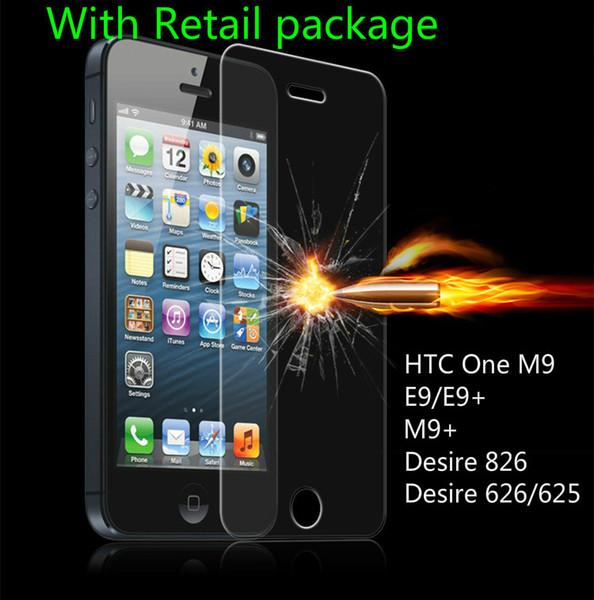 0,33 mm Telefon Displayschutzfolie Explosionsgeschützte gehärtetes Glas Film für HTC M9 E9 / E9 + M9 + Desire 826 626/625