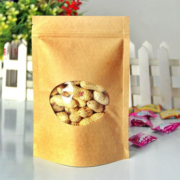 100pcs/lot 14cm*19cm+4cm*140micron High Quality Kraft Paper With Window Zipper Bags Plastic Gift Bags For Food