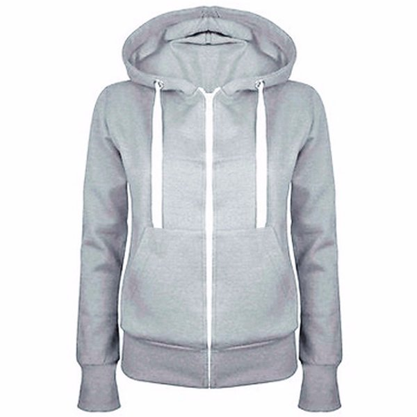 Ladies Plain Zip Up Fleece Hoody Women Sweatshirt Coat Jacket Top Hoodies T