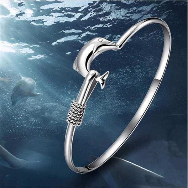 Women Bracelets 925 Silver Bracelet Bangles Dolphin Charm Bracelet Ladies Bangle Fashion Jewelry Accessories Party Gifts 2016 New Hot