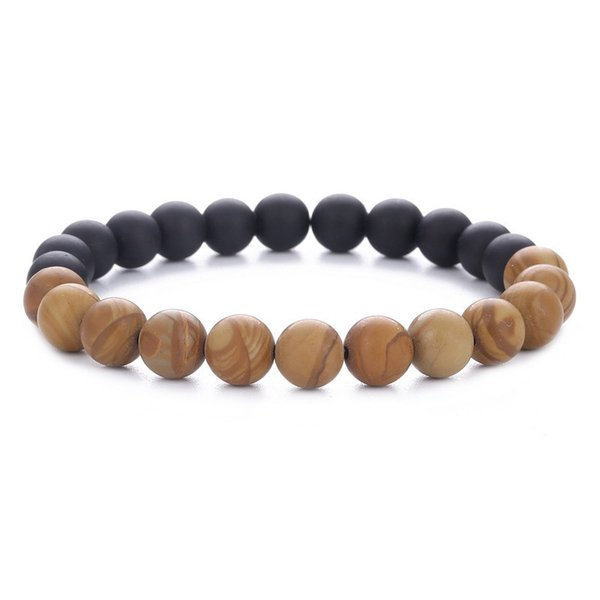 8mm Brown Wood Frosted Beaded Unisex Bracelet Fashion Handmade Yoga Jewelry for Men and Women Bracelet D87S