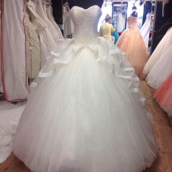 Actual Image Coral Quinceanera Dresses Pearls Tulle Lace Sweet 16 Dress Cheap Prom Ball Gowns 2016 Masquerade Ball Gowns