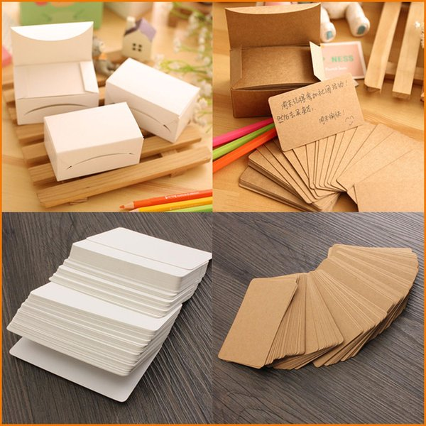 top popular 80 Pcs Set Kraft Paper Card Message Memo Wedding Party Gift Thank You Cards Label Bookmarks Notes Papel Kraft Blanco Brown White 2020
