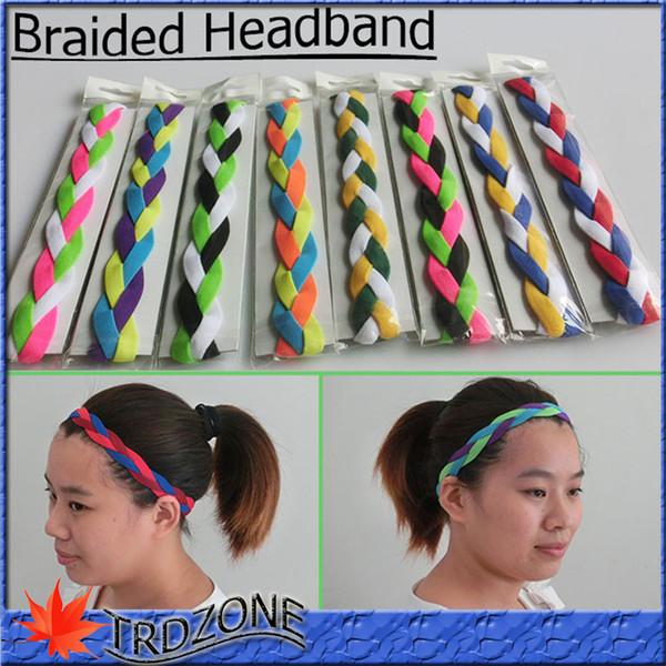 ¡NUEVO! Mini bandas para el cabello trenzadas Estilo de la cabeza Diadema elástica antideslizante Diademas deportivas de softbol DHL gratis