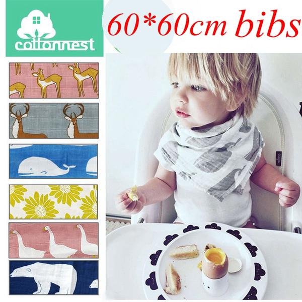 top popular 60CM*60CM 24*24inch Aden Anais Swaddle Animal Cartoon Bibs Baby Cotton Muslin BathTowel Bamboo Anais Burp Cloths 9colors choose free 2021
