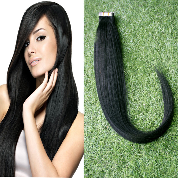 Cheap Tape Hair Extensions 10-30 Inch #1 Jet Black Hair,Grade 6A Virgin Silky Straight Brazilian PU Skin Weft Hair 40pcs/set