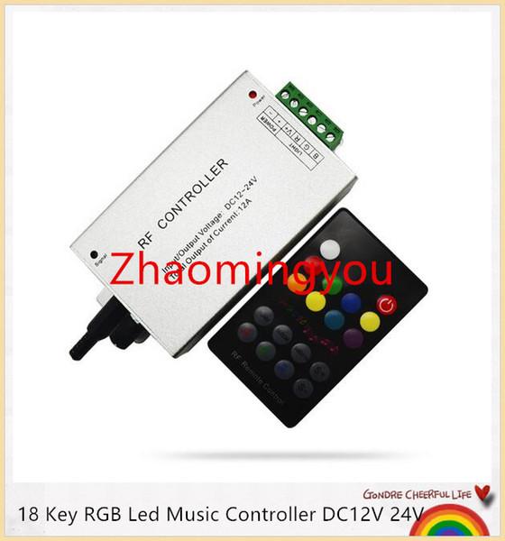 YON 18 Chave RGB Levou Controlador de Música DC12V 24 V Som de Áudio 3 Canais * 4A 12A RF 433.92 mhz Remoto Sem Fio para Controle de Luz de tira