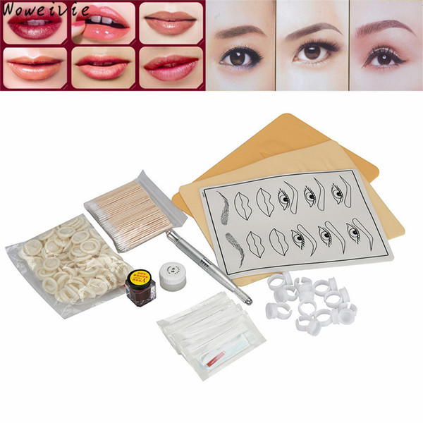 Wholesale- High Quality Microblading Eyebrow Lip Tattoo Pigment Manual Pen Practice Skin Needles Kit Free Shipping