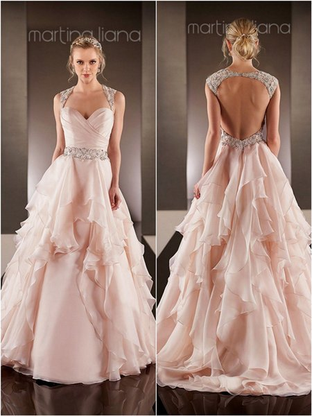 0258f809e6329 Blush Pink Wedding Dresses Open Back Wedding Gown Beaded Sash robe de  mariee sexy backless wedding dress Layered Skirts Bridal Gowns