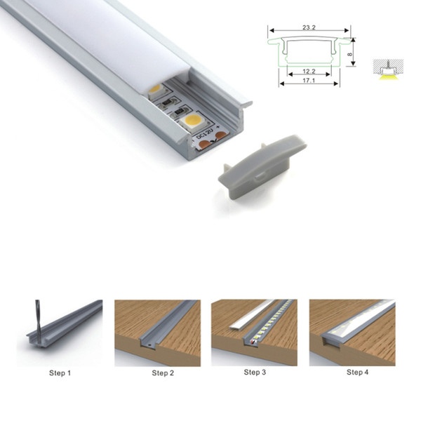100 X 1M sets/lot Ultra Slim aluminum profile led strip light and wide alu T channel for recessed wall or floor lamp