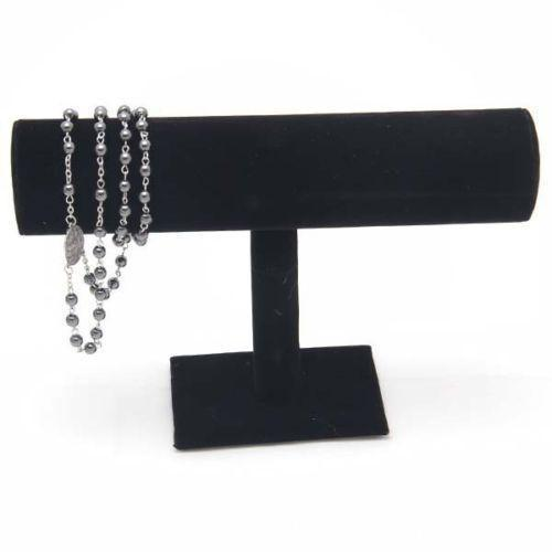 top popular Free Shipping Black Velvet Expositores Fashion Jewelry Display Stand Holder for Bracelets Bangle Watch Chains Hanging T bar Rack 2021