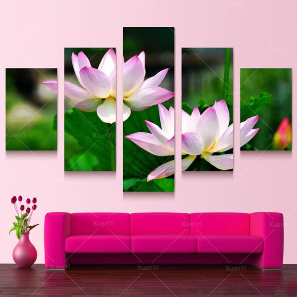 5 Panel Forest Painting Canvas Wall Art Picture Home Decoration ...
