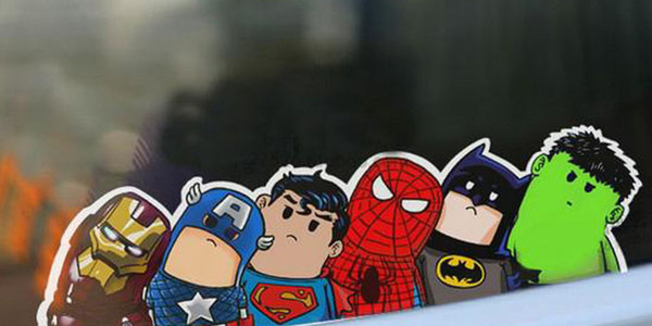 top popular Hot new Lovely Wry heads AVENGERS waterproof uv resistant Cartoon Car Stickers Comics Ultra Reflective Car styling car sticker 2020