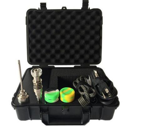 NewTitanium Nail D nail E NAIL Upgrade Heater Coil Yellow Case Temp Control E Cigarette Dry Herbal Wax Box Vaporizer Kit Christmas gifts
