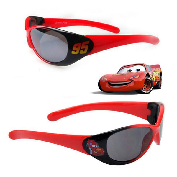 New Fashion Boys Sunglasses Cool Cartoon Cars Children Sunglasses Popular Cool Kids Goggles Red Black Lightning Sunglasses 30PCS