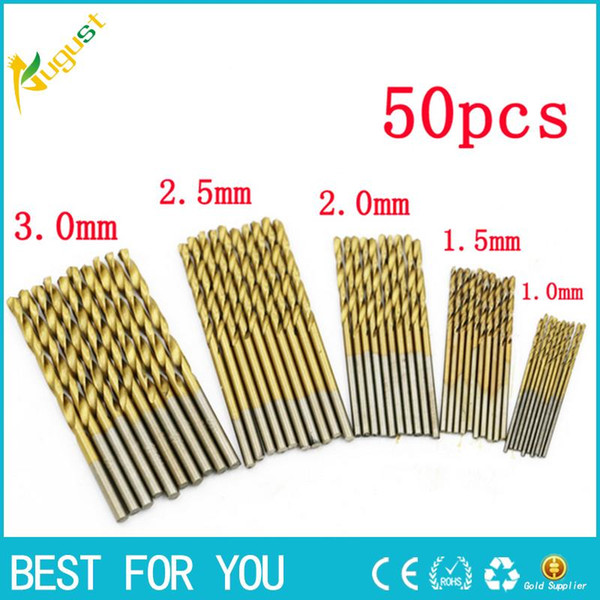 best selling New one set 50x 1 1.5 2 2.5 3mm HSS High Speed Steel Drill Bit Set Tools Titanium Coated High-intensity drills