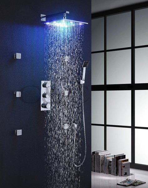 Bathroom Bath Rainfall Shower Faucet 12 Inch Rainfall LED Shower Head Spa Body Massage Spray Jets With Thermostatic Faucet Valve 007-12C-2