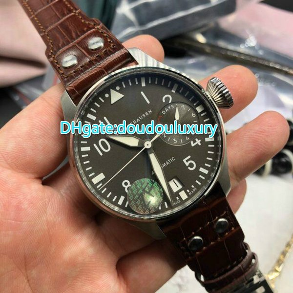 Power reserve best version stainless steel case 46mm gray face wristwatch brown leather watchband sapphire crystal water resistant watch