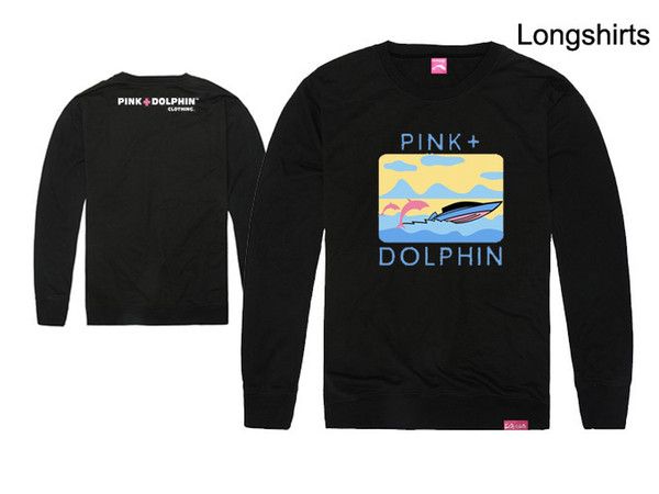 Fashion Men's Pink dolphin t shirts Hip Hop Printing Clothing cotton Autumn tops long sleeve Brand tee o-neck Top Free shipping