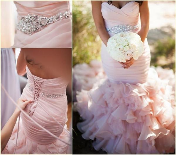 2016 Pink wedding dress sweetheart beadings belt ruffles mermaid wedding gown Long organza romantic lace up back bridal dresses