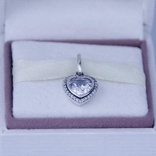 Гарантия 100% стерлингового серебра 925 ювелирные изделия серебро сердце кулон с Clear Cz подходит Pandora браслет Diy бисера Оптовая мода 1 шт./лот