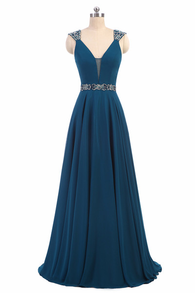 2017 Sexy V-Neck Backless A-Line Formal Evening Dresses With Appliques Chiffon Floor-Length Plus Size Prom Party Celebrity Gowns BE18