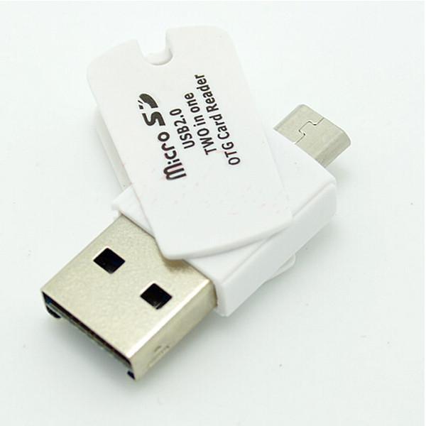 Lettore di schede Micro TF TF 2-in-1 vendita all'ingrosso-caldo con OTG USB 2.0 con Micro USB per PC Phone Spedizione gratuita