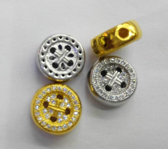 12pcs 6-10mm CZ Micro Pave Diamond paved spacer beads Jewelry findings Micro Pave Brass Peace Disc Roundel Button Connector beads earrings