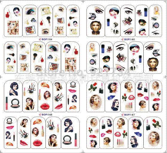 Moda fai da te adesivi per unghie artistiche dito pieno bop164-165-166-167 acqua filigrana stampa applique decalcomania hot-selling hot film
