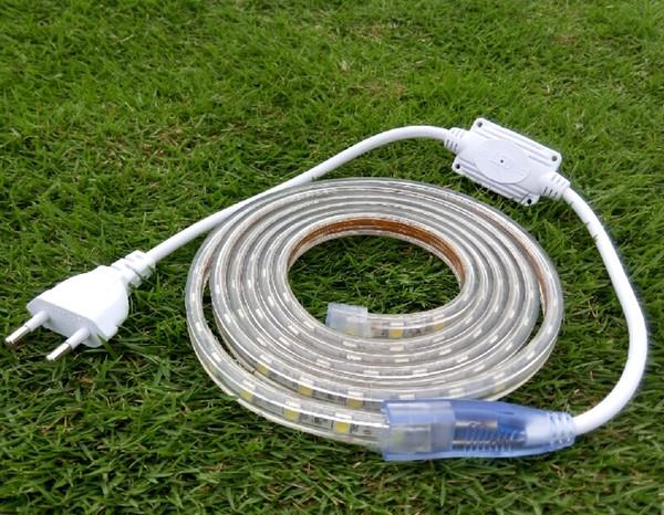 1 m 2 m 3 m 4 m 5 m 6 m 7 m 8 m 9 m 10 m CONDUZIU a Lâmpada Luz de Tira 220 V 5050 Plug UE Branco quente RGB Vermelho Amarelo Azul Verde para Ao Ar Livre À Prova D 'Água + clips