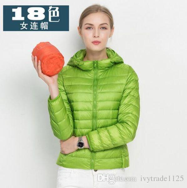 Großhandel 18 Bonbonfarben Reißverschluss Farben Winter Ente Daunenmantel Light Ultra Daunenmantel Kapuze Frauen Oberbekleidung Neuheiten Dame 7gmf6vIYby