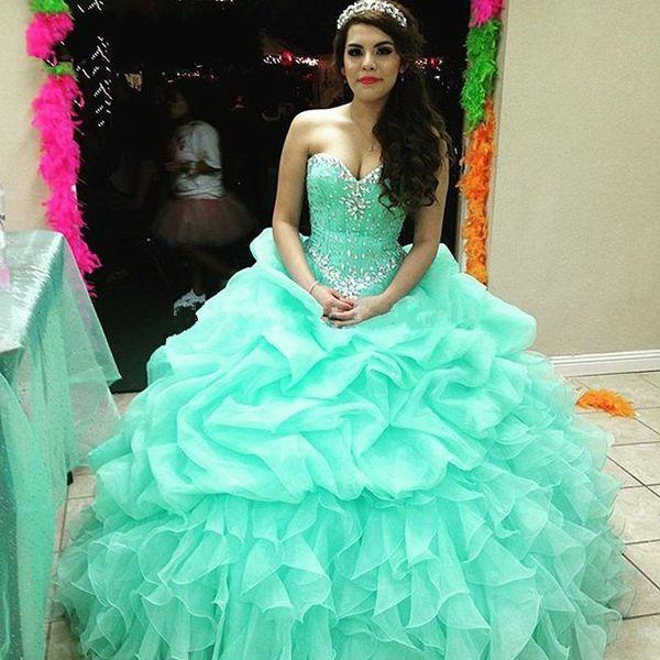 55d2e5b0f4 Mint Verde Vestidos Quinceanera 2016 Vestidos de 15 anos de Volta  Espartilho Vestido de Baile Sparking
