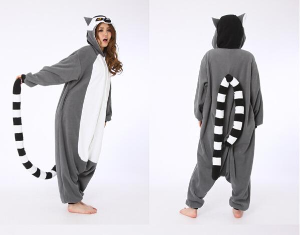 SS Novelty Animal Lemur Long Tail Monkey jumpsuit Adult Onesie Unisex Women Men's Pajamas Halloween Christmas Party Costumes
