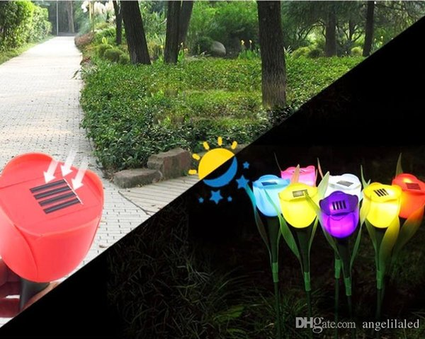 Solar LED Outdoor Light Landscape Path Premium Quality Rose Lamp Bright Colorful Christmas Outdoor Decorations Yard Solar Bulb Garden