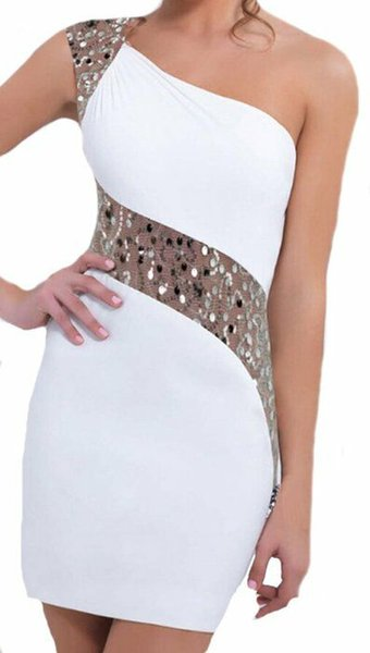 New Plus Size Women Sexy One-shoulder Irregular Sequins OL Cocktail Mermaid Prom Backless Warp Dress Mini