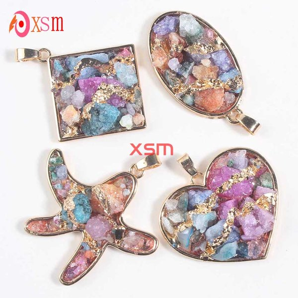 2016 Hot Sale New Product Natural Starfish Heart Oval Crystal Druzy Pendants Necklace Jewelry For Women Free Shipping 10psc
