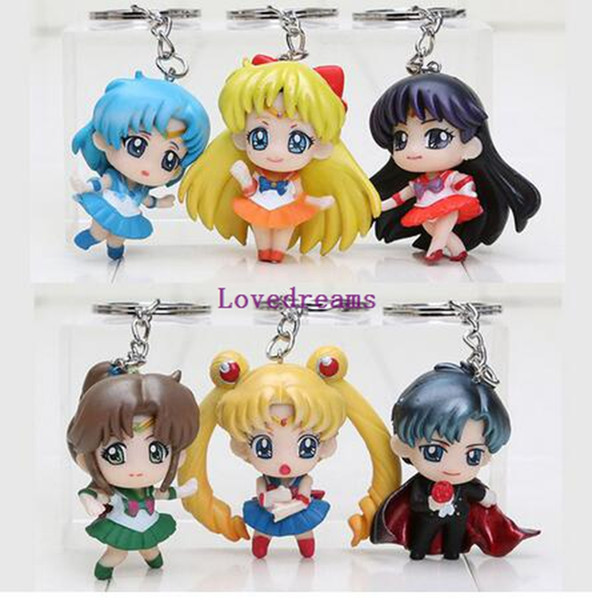 6pcs/set 5cm Cartoon Sailor Moon figure Tuxedo Mask phone keyring keychain pendant PVC action Figure toy