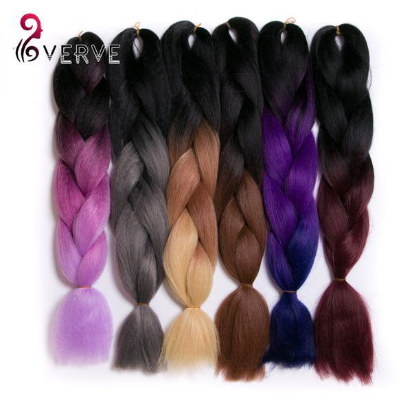top popular VERVES Braiding Hair ombre High Temperature Fiber expression braiding hair 100g pcs 24inch four tone synthetic braiding hair Extensions 2019