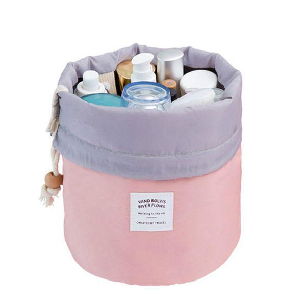 Fashion Barrel Shaped Travel Cosmetic Bag Make Up Bag Drawstring Elegant Drum Wash Kit Bags Makeup Organizer Storage Beauty Bag