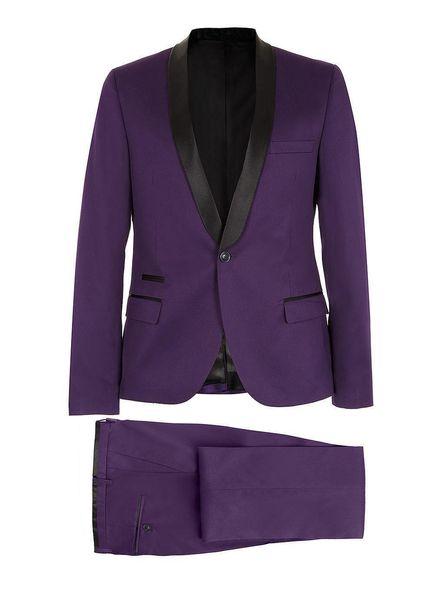 Blue One Button Groom Tuxedos Purple Men New Wedding Groom Dinner Pop Suit Tuxedo Jacket Blazer Coat Pant Trouser
