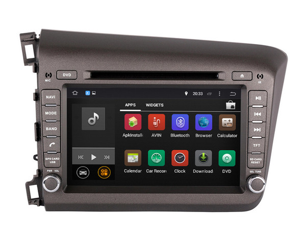 Android 7.1 Car DVD Player GPS Navigation for Honda Civic 2012 2013 with Radio BT USB AUX WiFi Audio Stereo 1024*600