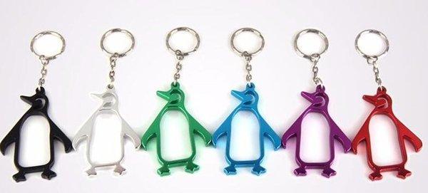 Pingüinos creativos abridor de botellas de cerveza abridor de botellas de aleación de aluminio animal con llavero Encantador abrebotellas portátil